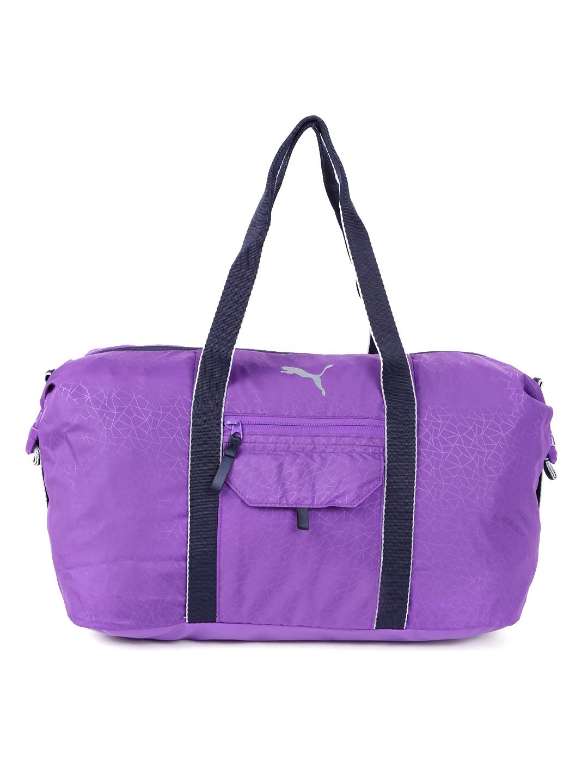 b8a9e4e6f566 Buy PUMA Women Purple Fit At Workout Printed Duffel Bag - Duffel Bag ...