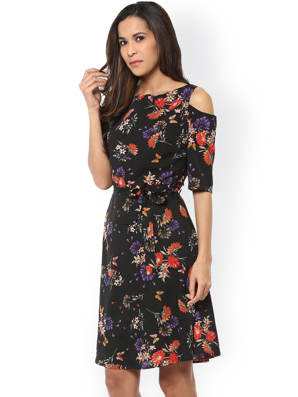 fe4834d3e163b Buy Harpa Women Black Floral Print Cold Shoulder A Line Dress ...