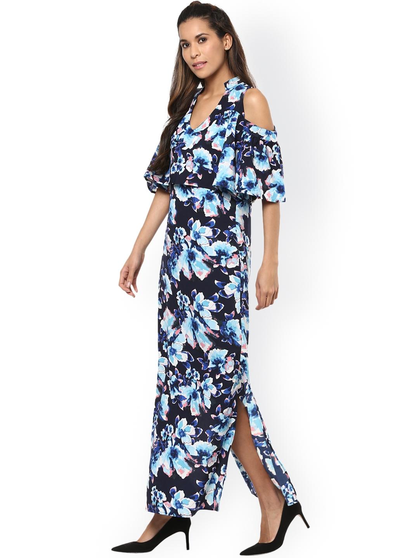 49f3a2c9f055 Buy Harpa Women Navy Blue Floral Print Cold Shoulder Maxi Dress ...