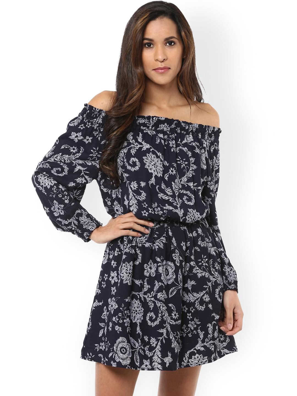d135862fe6b Buy Harpa Women Navy Blue Floral Print Off Shoulder Blouson Dress ...