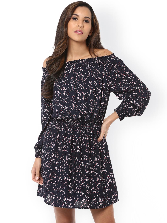 4ae2b7e52fe2 Buy Harpa Women Navy Blue Printed Off Shoulder Blouson Dress ...