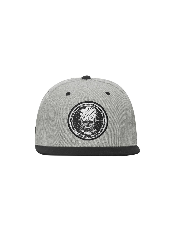 da73f68616b Buy Haul Apparel Skull Stache Heather Grey   Black Snapback Cap ...
