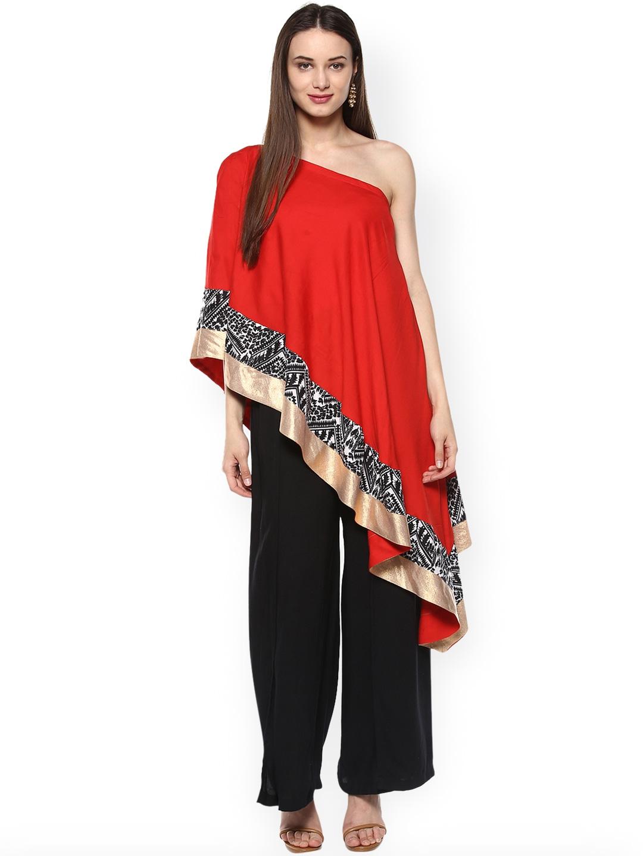 819c4ef3828b Buy La Firangi Women Red Solid One Shoulder Cape Top - Tops for ...