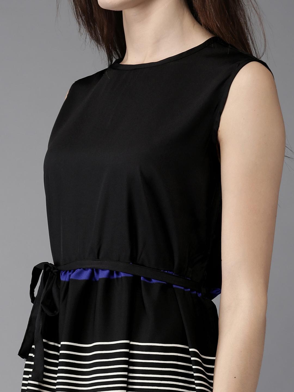 32fcad05bd Buy HERE&NOW Women Black & White Striped Maxi Dress - Dresses for Women  1973644 | Myntra