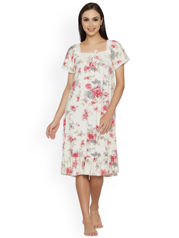 ca17f1a8b3 Buy Blush By PrettySecrets Off White Floral Print Nightdress BSS17NW ...