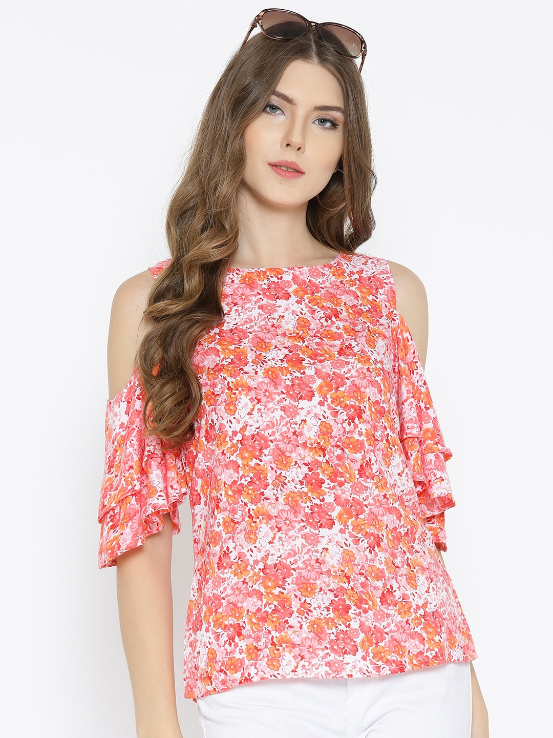 d49d2d18503236 Buy Sera Women Off White   Pink Printed Cold Shoulder Top - Tops for ...