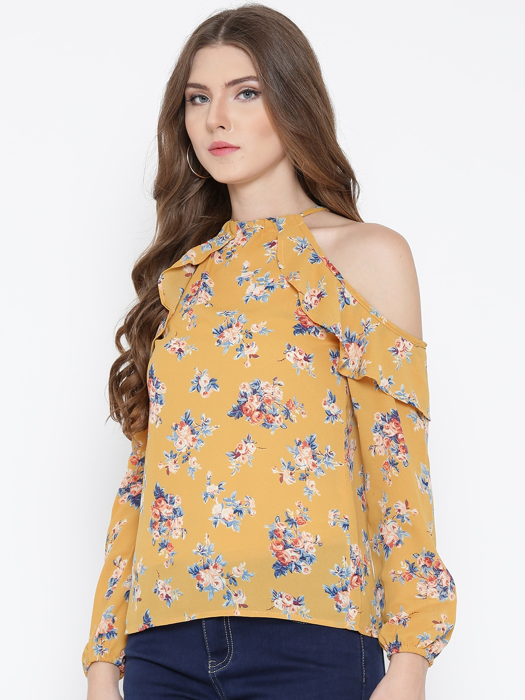 1e28715ac84 Buy Sera Women Mustard Yellow Floral Print Cold Shoulder Top - Tops ...