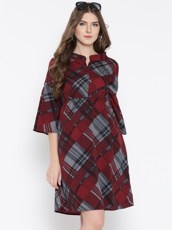 3d97cfa4e Buy Sera Women Maroon   Grey Checked Fit   Flare Dress - Dresses for Women  1973734