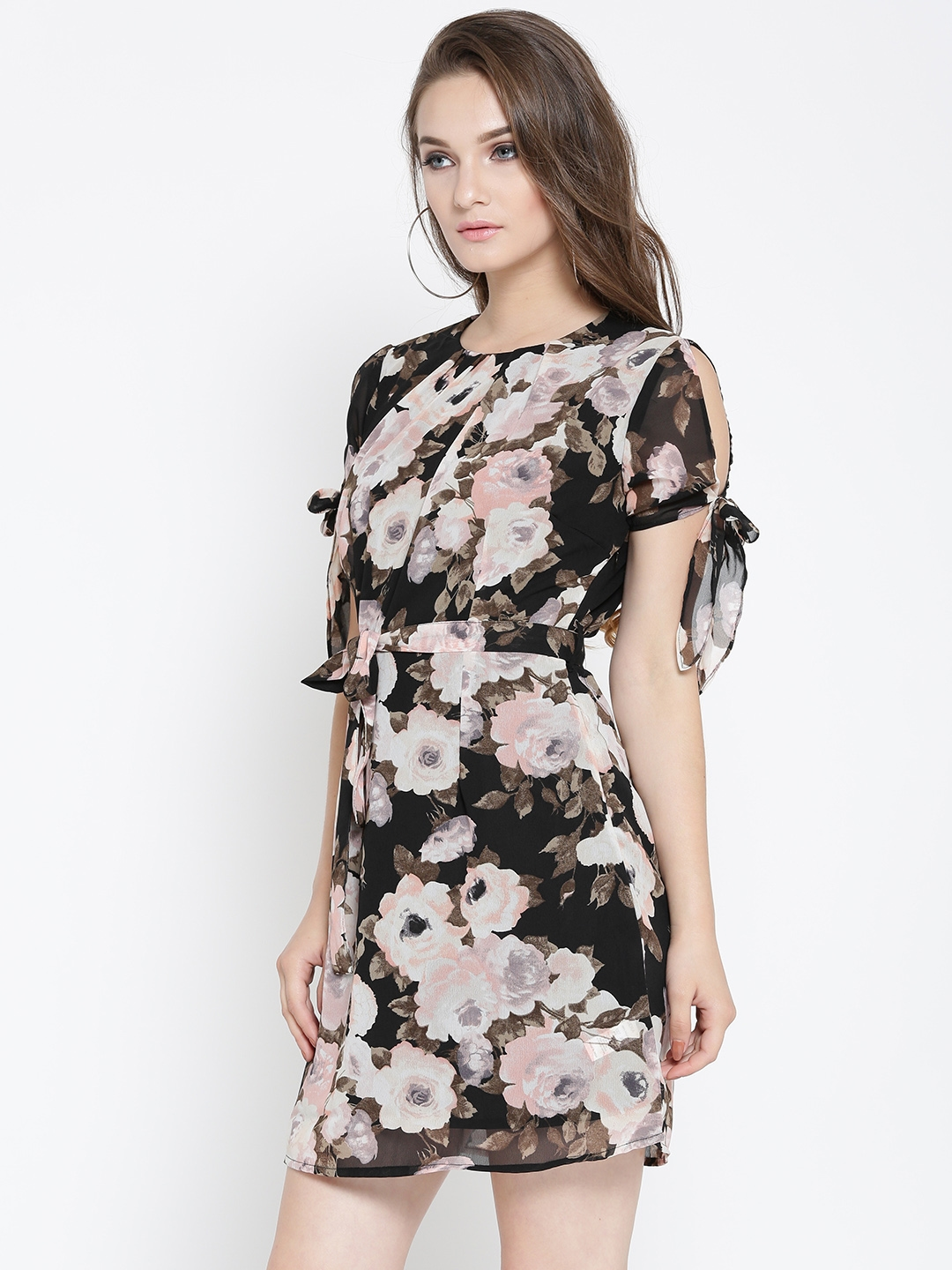 0a1c1869087 Buy Sera Women Black   Peach Coloured Printed Fit And Flare Dress ...