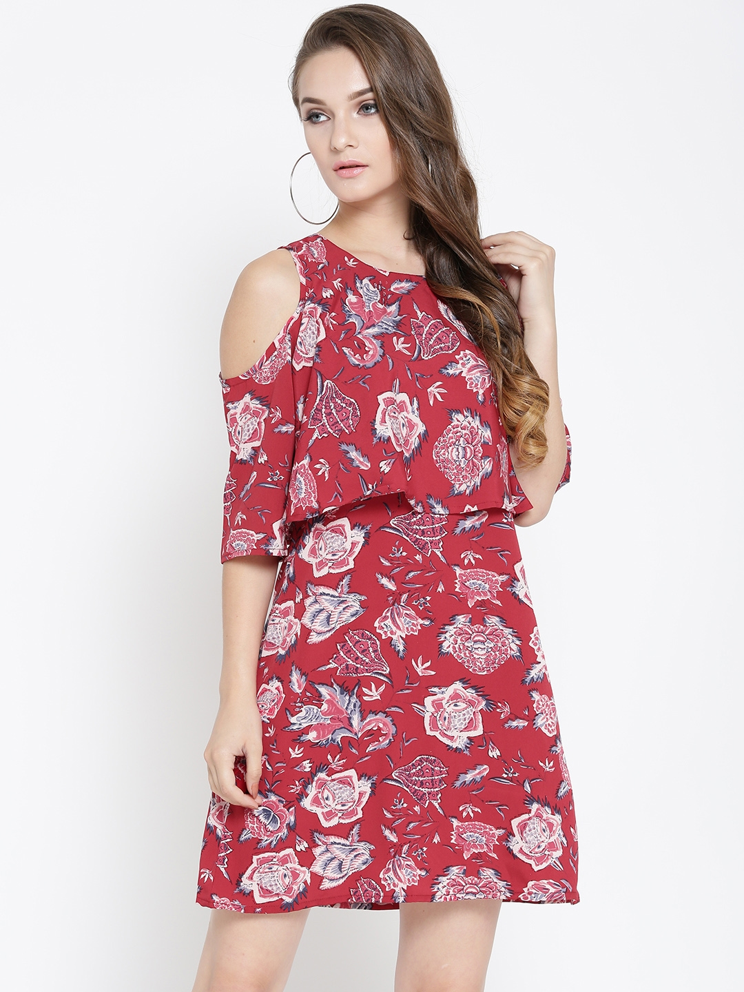 7d8f1a0a196 Buy Sera Women Red Printed Layered A Line Dress - Dresses for Women ...