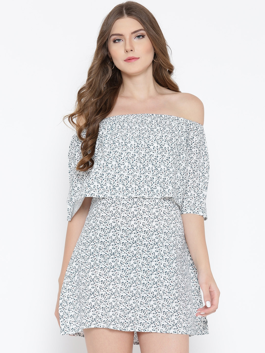 36902868957c Buy Sera Women White   Navy Printed Layered Off Shoulder Shift Dress -  Dresses for Women 1973770