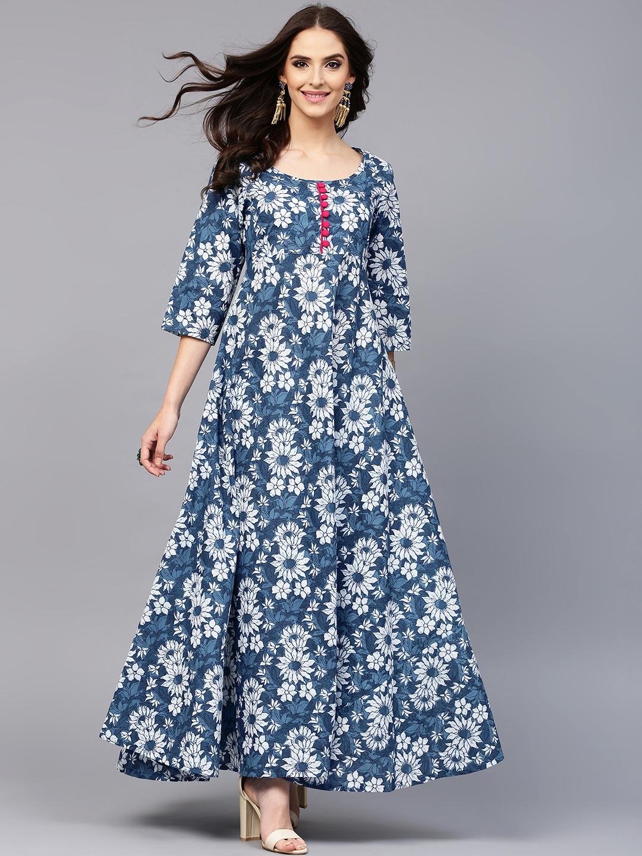 58f21c1854d Buy AKS Women Blue   White Printed Anarkali Kurta - Kurtas for Women  1975422