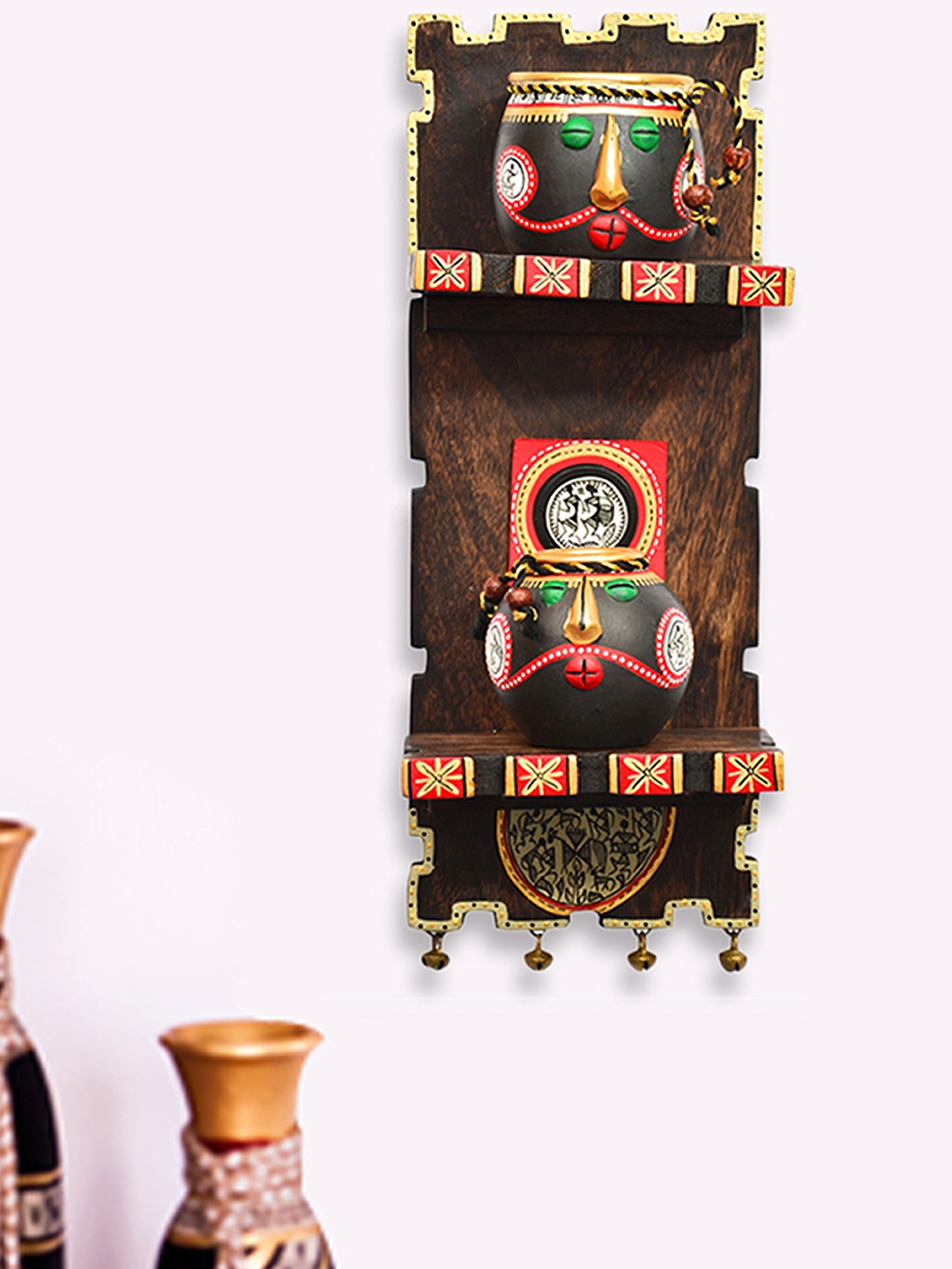 ExclusiveLane Wooden Wall Shelf With Terracotta Warli Handpainted Face Pots