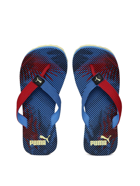 cb84b2f60d1d Buy PUMA Unisex Blue   Red Terry Jr. II IDP Striped Flip Flops ...