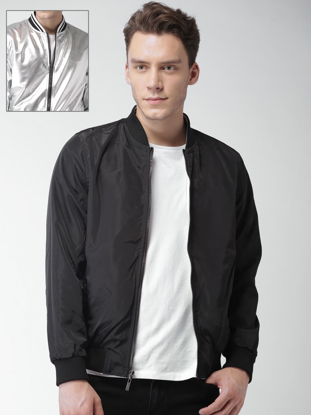 da981ef69 Mast & Harbour Men Black & Silver-Toned Reversible Metallic Bomber Jacket
