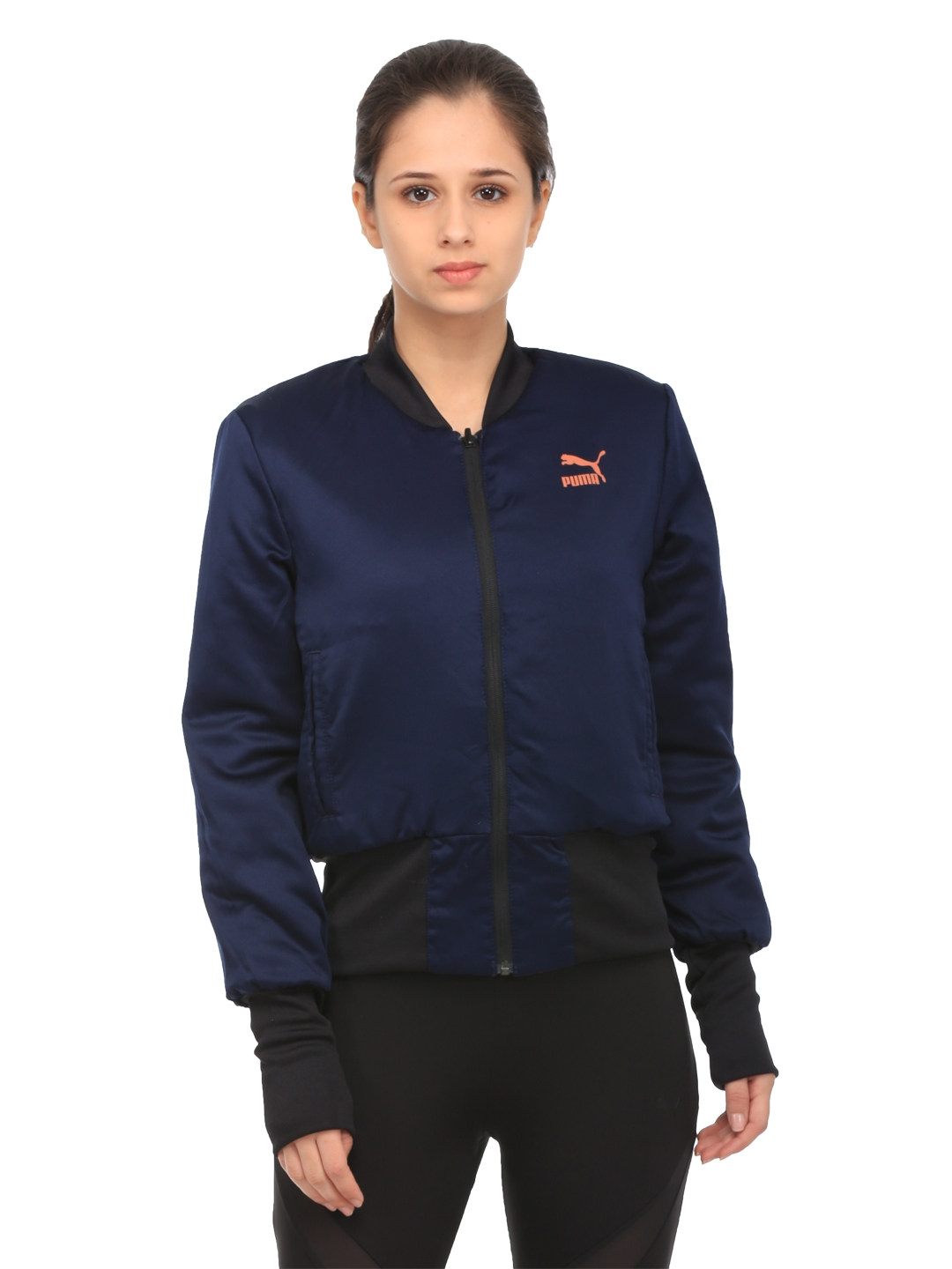 eb379502d458 Buy Puma Women Maroon   Navy Reversible Solid Padded Bomber Jacket ...
