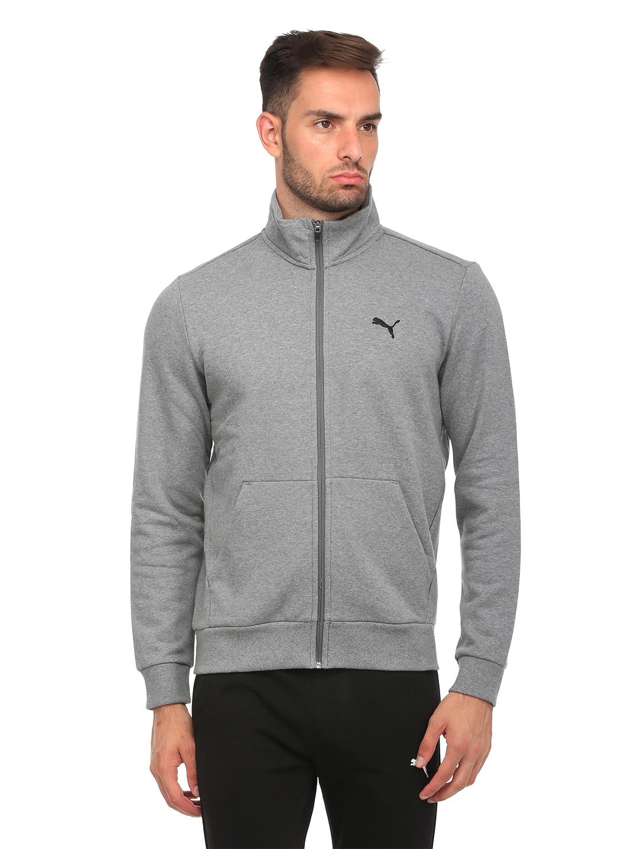 3ae3825b7422 Buy Puma Men Grey Melange ESS Sweat FL Sporty Jacket - Jackets for ...