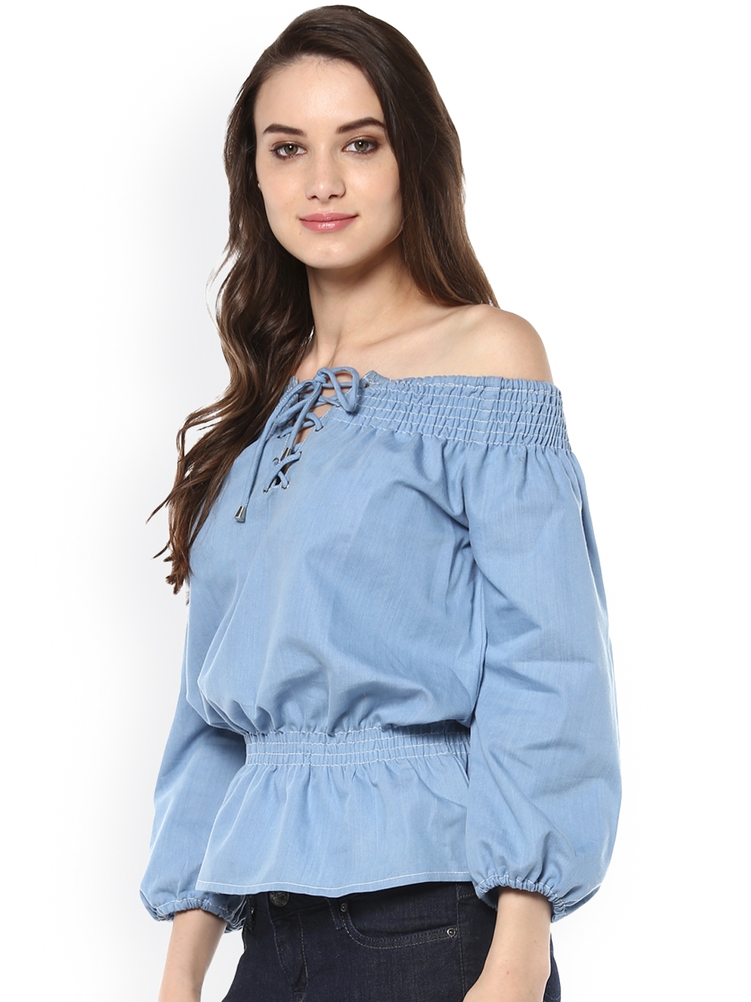 856858d5636 Buy StyleStone Women Blue Denim Off Shoulder Cinched Waist Top ...