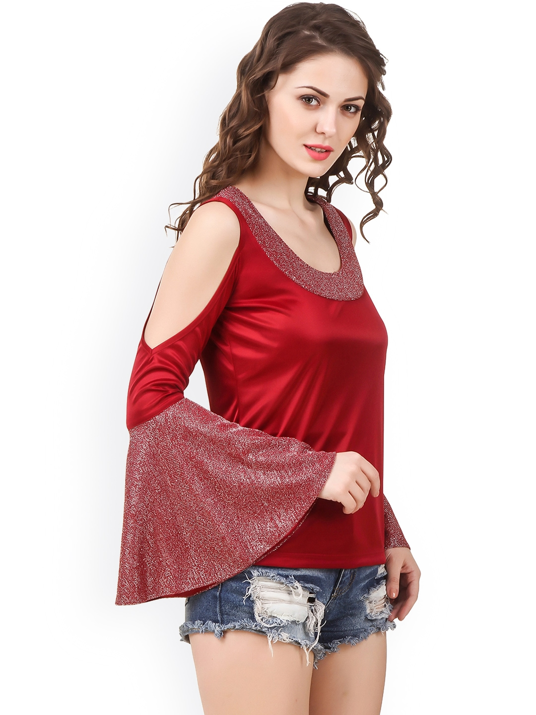 e435dfc963ab Buy Texco Women Red Self Design Cold Shoulder Top - Tops for Women ...