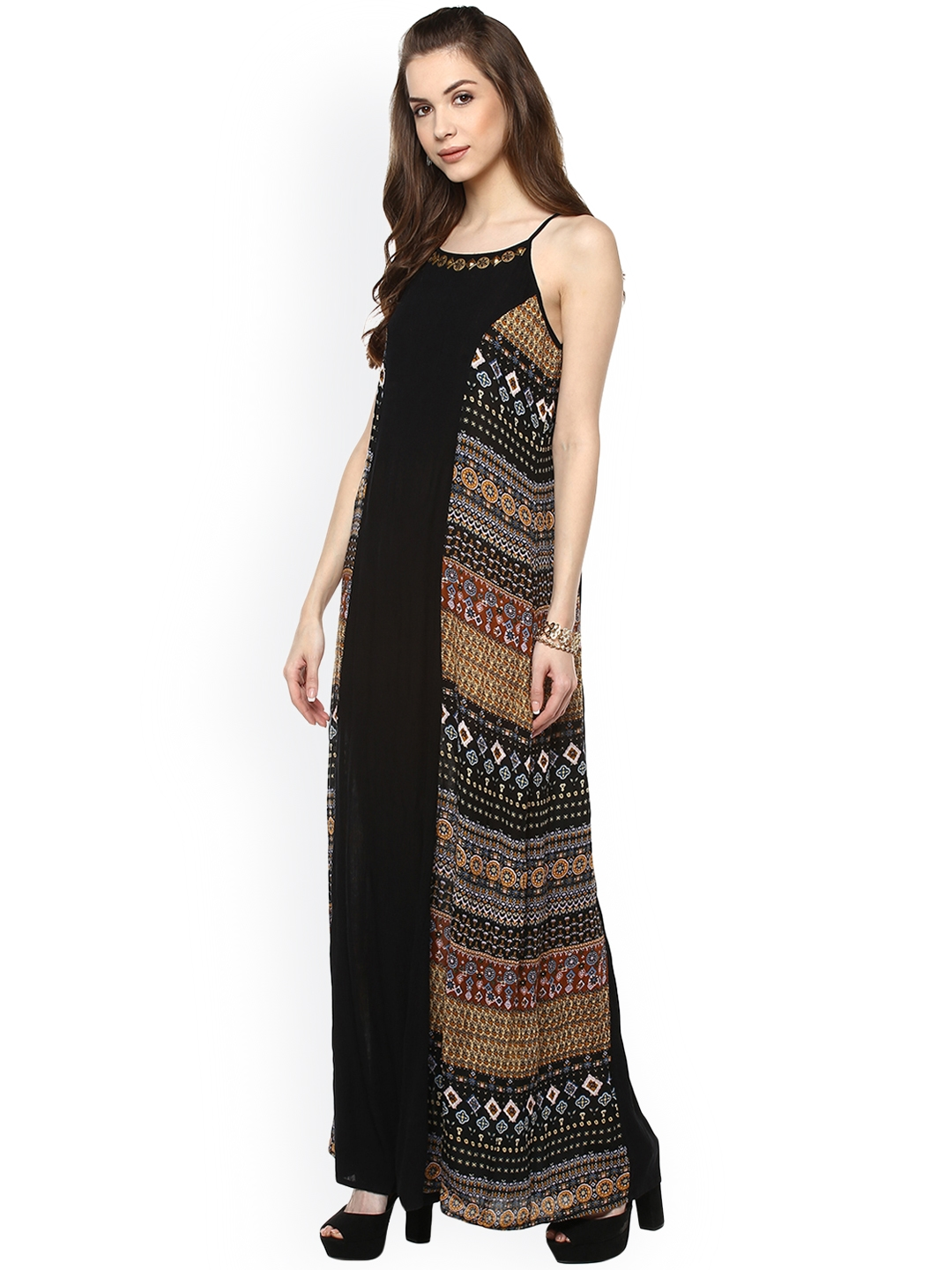 6aa62b1152a Buy Taurus Women Black Printed Maxi Dress - Dresses for Women ...
