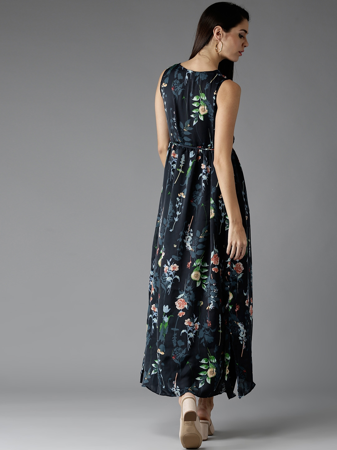 24669b0f89a Buy HERE NOW Women Navy Printed Maxi Dress - Dresses for Women ...