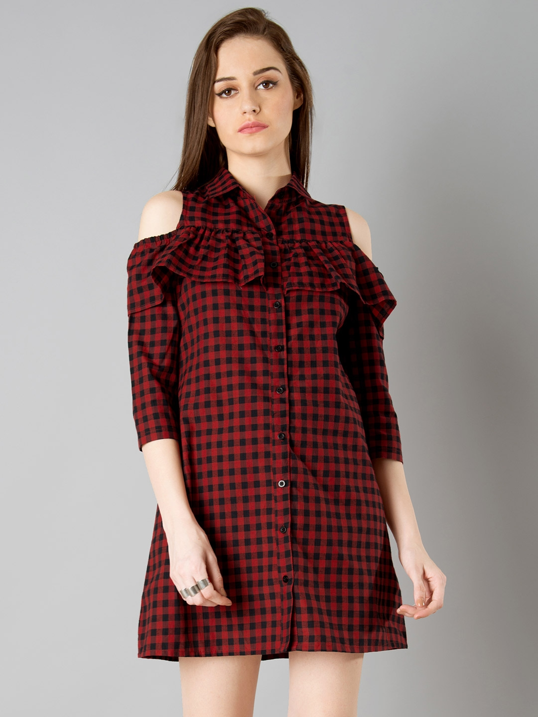 7fd6fce9d4f3 Buy FabAlley Women Red & Black Checked Shirt Dress - Dresses for ...