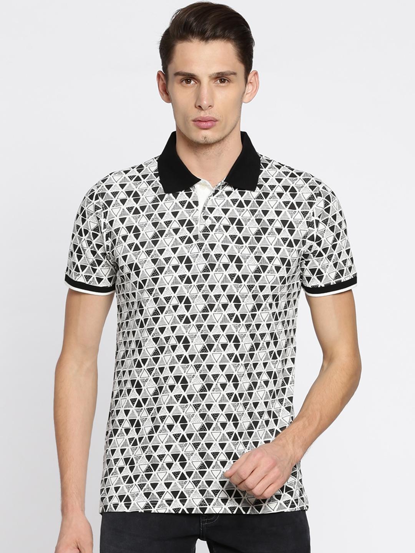 3613dd917 Buy Lee Cooper Men White & Black Printed Polo T Shirt - Tshirts for ...