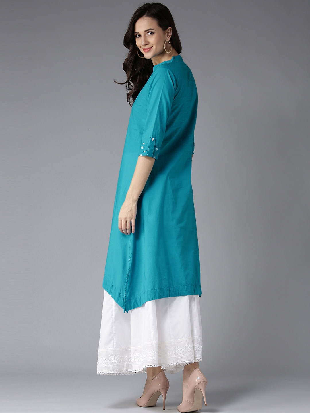 e5e49f513f1e8 Buy HERE&NOW Women Blue Solid A Line Kurta - Kurtas for Women | Myntra