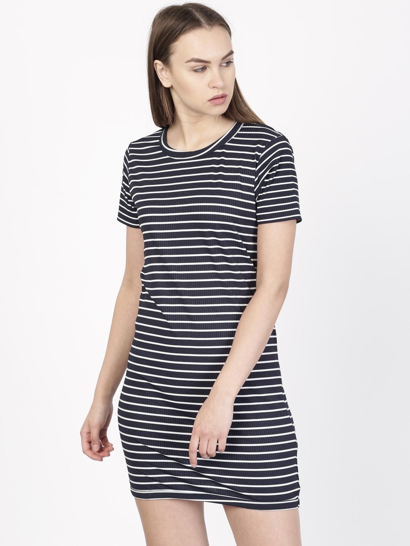 Buy Ether Women Navy Blue   White Striped T Shirt Dress - Dresses ... 1ddc7748d470