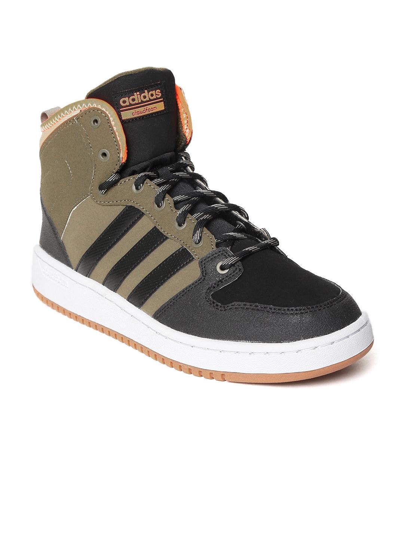 ADIDAS NEO Men Olive Green & Black CloudFoam Hoops WTR Colourblocked Sneakers