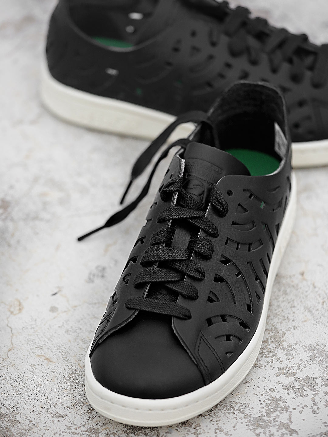 sports shoes 8b47f 89452 ADIDAS Originals Women Black Stan Smith Leather Cut-Out Sneakers