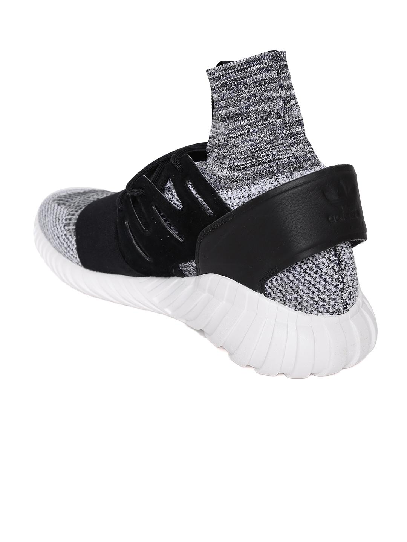 sports shoes add8f 449f8 Adidas Originals Men Grey   Black Tubular Doom Prime Knit Mid-Top Sneakers