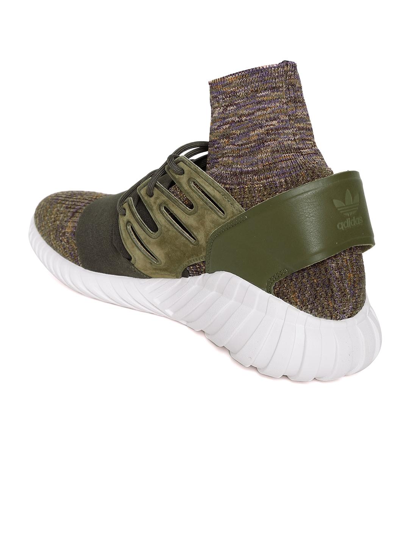 ADIDAS Originals Men Olive Green Tubular Doom PK Mid-Top Sneakers b419dcef4