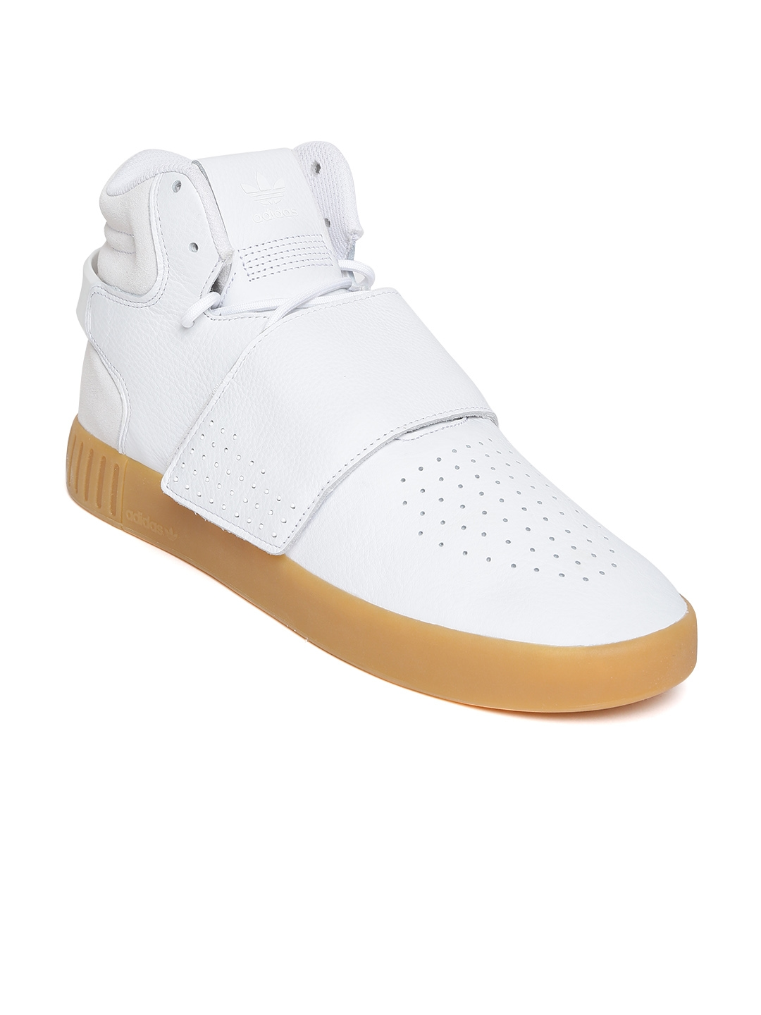 ADIDAS Originals Men White Tubular Invader Strap Mid-Top Leather Sneakers 9ce517c17