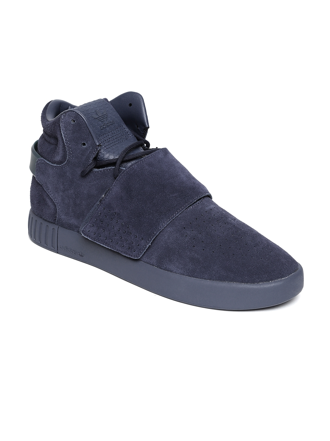 new arrival 8c770 729ef ADIDAS Originals Men Purple Tubular Invader Strap Mid-Top Leather Sneakers