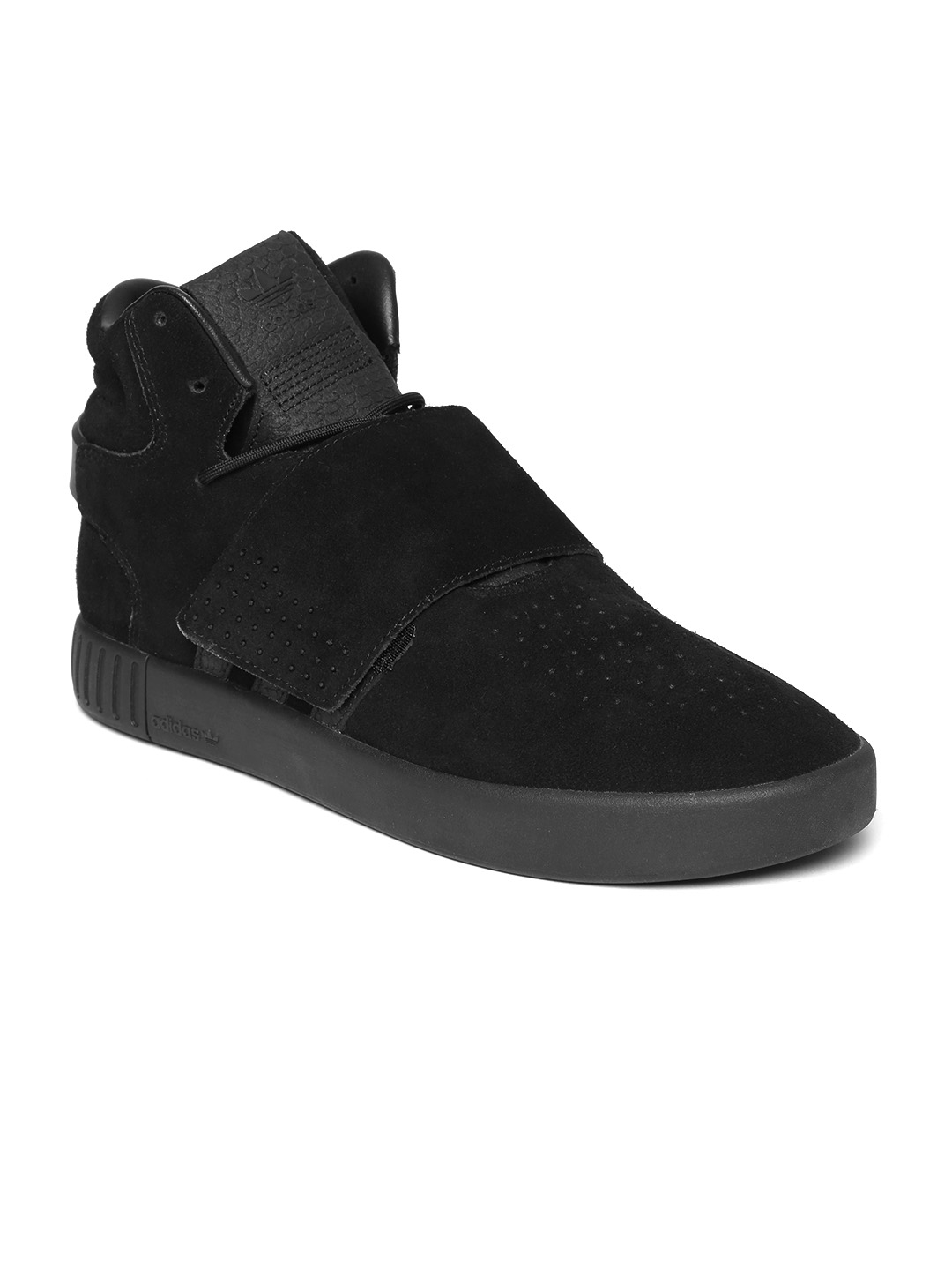huge selection of 31e38 a25a1 ADIDAS Originals Men Black Tubular Invader Strap Leather Mid-Top Sneakers