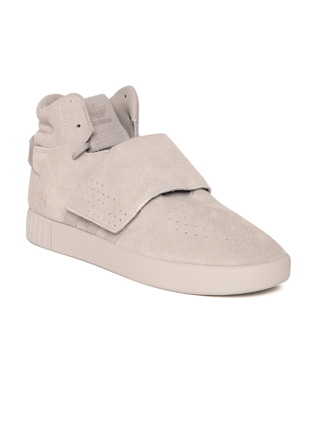 best website dfb5e e531d ADIDAS Originals Men Taupe TUBULAR INVADER STRAP Leather Mid-Top Sneakers