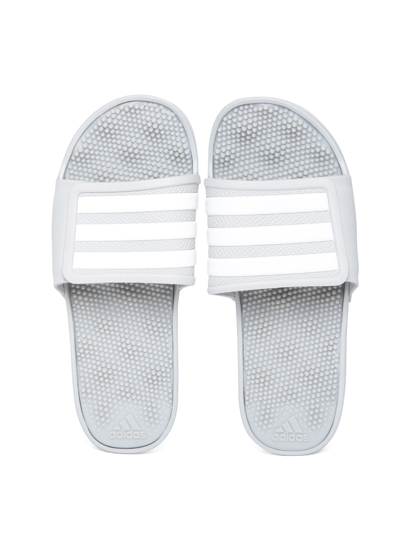 5b37cc8d0f390 Buy ADIDAS Men Grey   White Adissage 2.0 Stripes Flip Flops - Flip ...