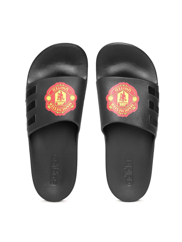 f7c19fefd1a ADIDAS Unisex Black AQUALETTE CloudFoam Manchester United F.C Printed  Flip-Flops