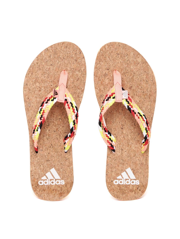 52fe410e3 Buy ADIDAS Women Peach Coloured   Brown Beach Cork Thong Flip Flops ...