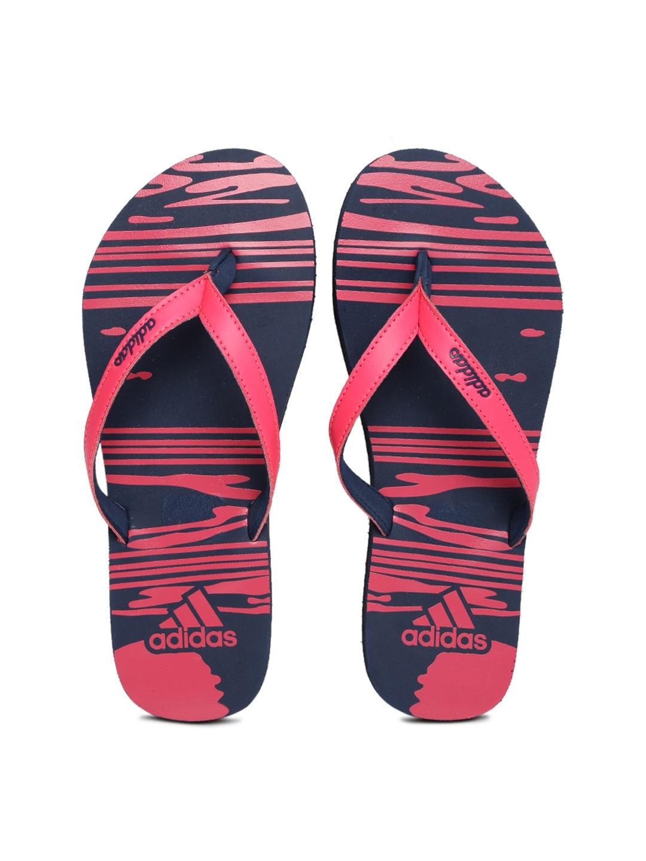 adidas girls. adidas girls pink \u0026 navy blue jung printed flip-flops