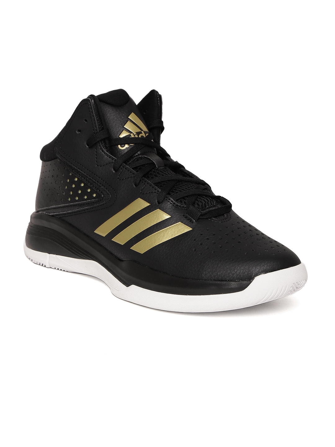 e24179ca189 Buy ADIDAS Men Black CROSS  EM 4 Mid Top Leather Basketball Shoes - Sports  Shoes for Men 1989516