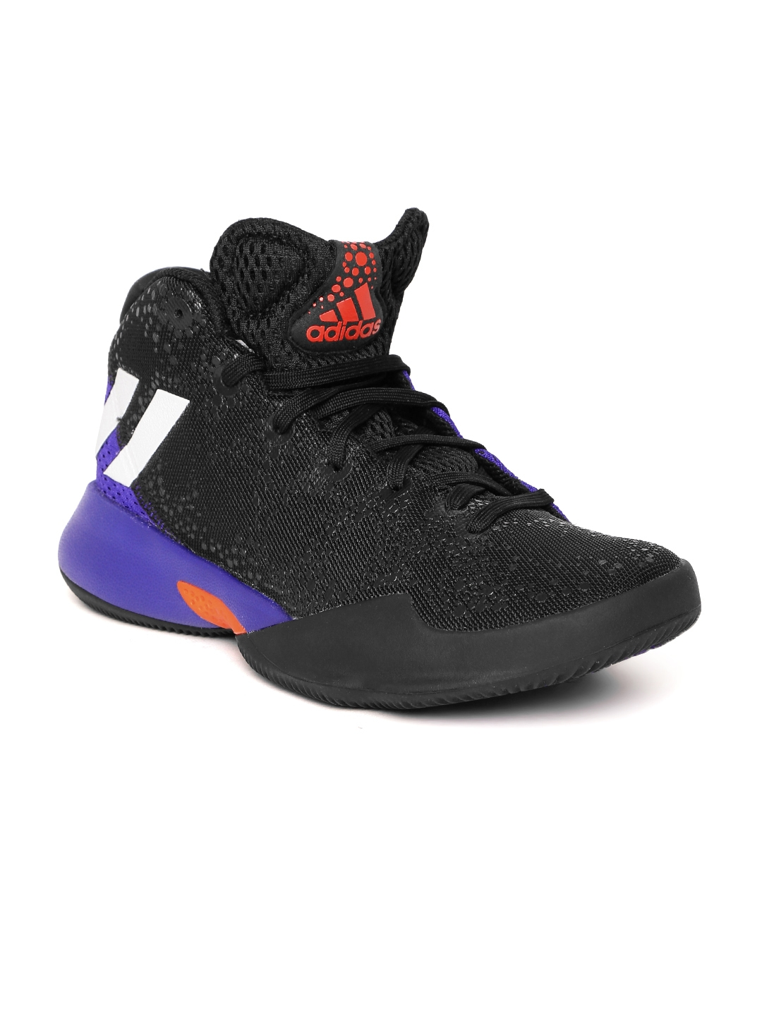 5d52ad498493 Buy ADIDAS Kids Black   Purple Crazy Heat J Basketball Shoes ...