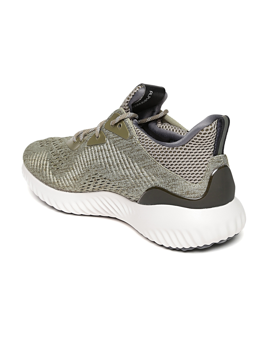 best website a638d 47db5 ADIDAS Men Olive Green Alphabounce Engineered Mesh Running Shoes