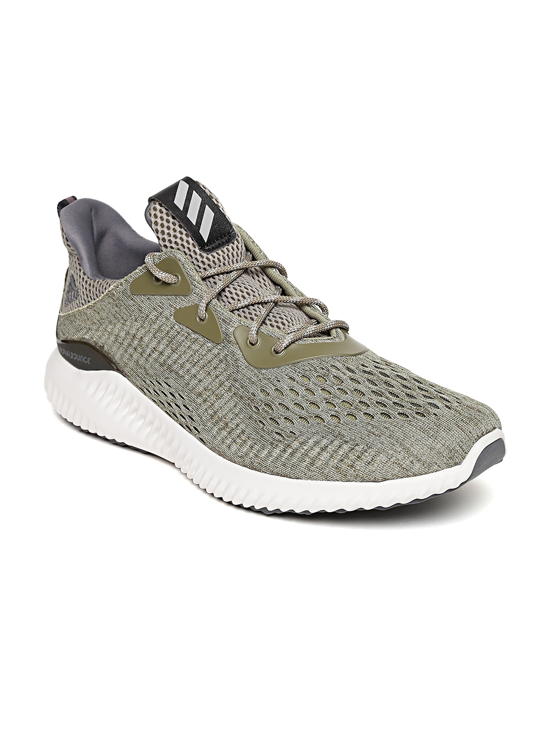 2833dd6938db Buy ADIDAS Men Olive Green Alphabounce Engineered Mesh Running Shoes ...
