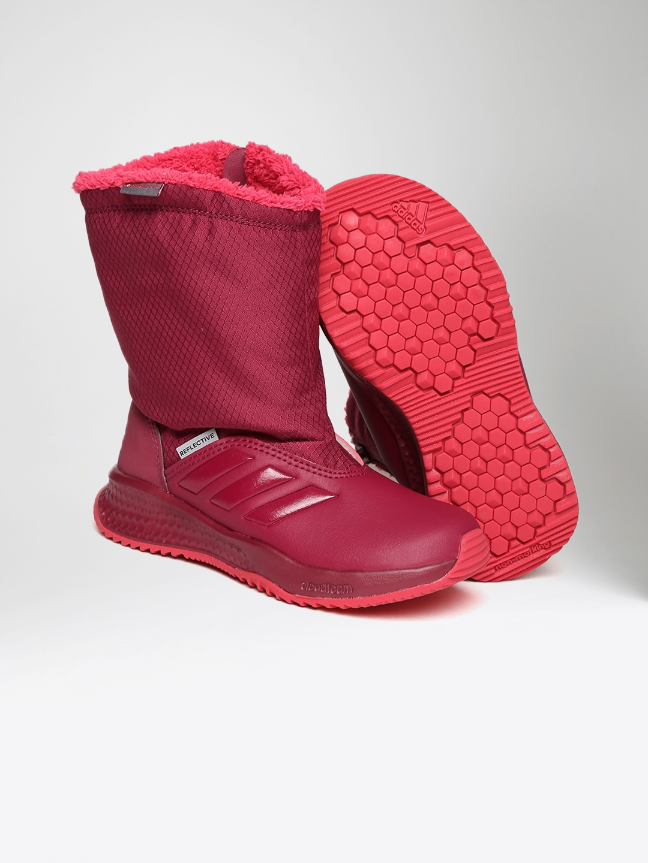 Buy ADIDAS Kids Burgundy RAPIDASNOW K High Top Training Shoes ... e726ef6bdcad
