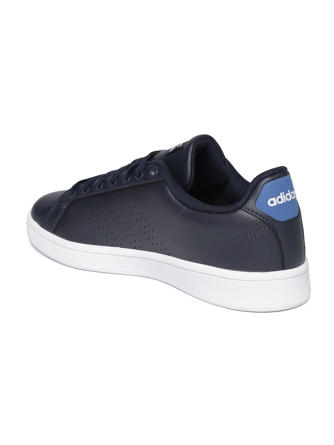 sports shoes c29d1 93e53 Adidas NEO Men Navy Blue Cloud Foam Advantage Clean Perforated Leather  Sneakers