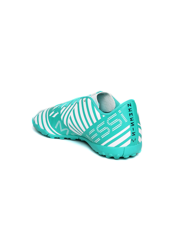 753e6a5e3 ADIDAS Boys Teal Blue   White NEMEZIZ MESSI 17.4 TF J Printed Football Shoes