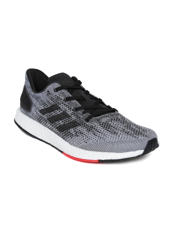 dd916f2928a12 Buy ADIDAS Men Black   White PUREBOOST DPR Running Shoes - Sports ...