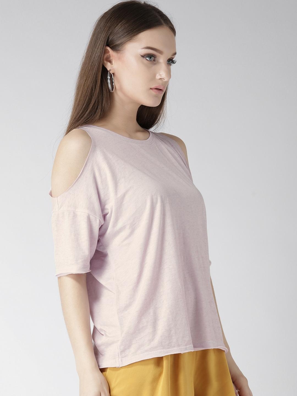 0b782bcb244d42 Buy FOREVER 21 Women Lavender Solid Cold Shoulder Top - Tops for ...